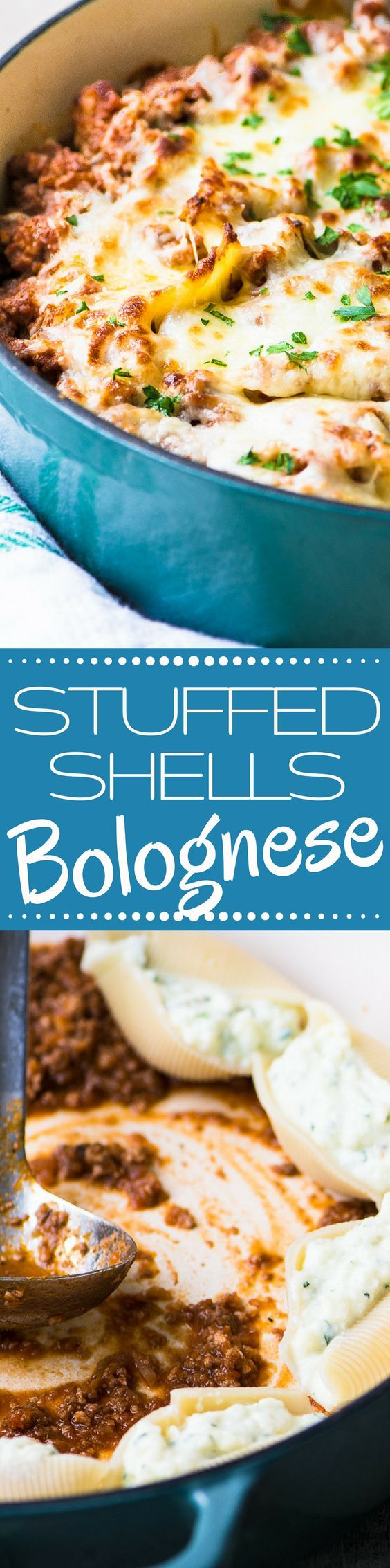 Stuffed Shells Bolognese ~ a rich meaty Bolognese sauce elevates these stuffed shells from a family dinnertime classic to a special occasion centerpiece. | Italian pasta | casserole | meat sauce | entertaining | comfort food | high protein | dinner