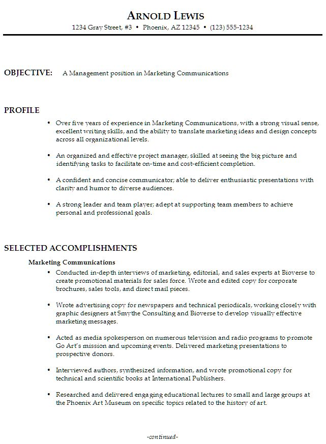 Sample Resume for someone seeking a job in Management, Marketing Communications-Functional