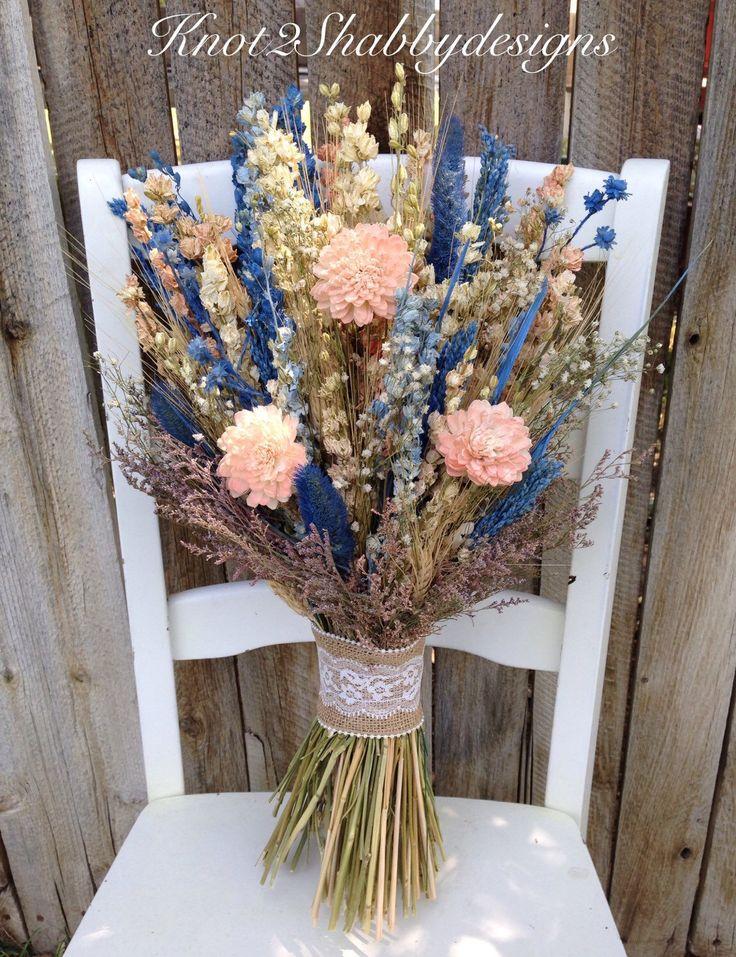 Sola flower wildflower - dried flower bouquet - wedding flowers - blush - bridal bouquet - bridal party flowers - bridesmaid bouquet by Knot2ShabbyDesigns on Etsy https://www.etsy.com/listing/244551884/sola-flower-wildflower-dried-flower