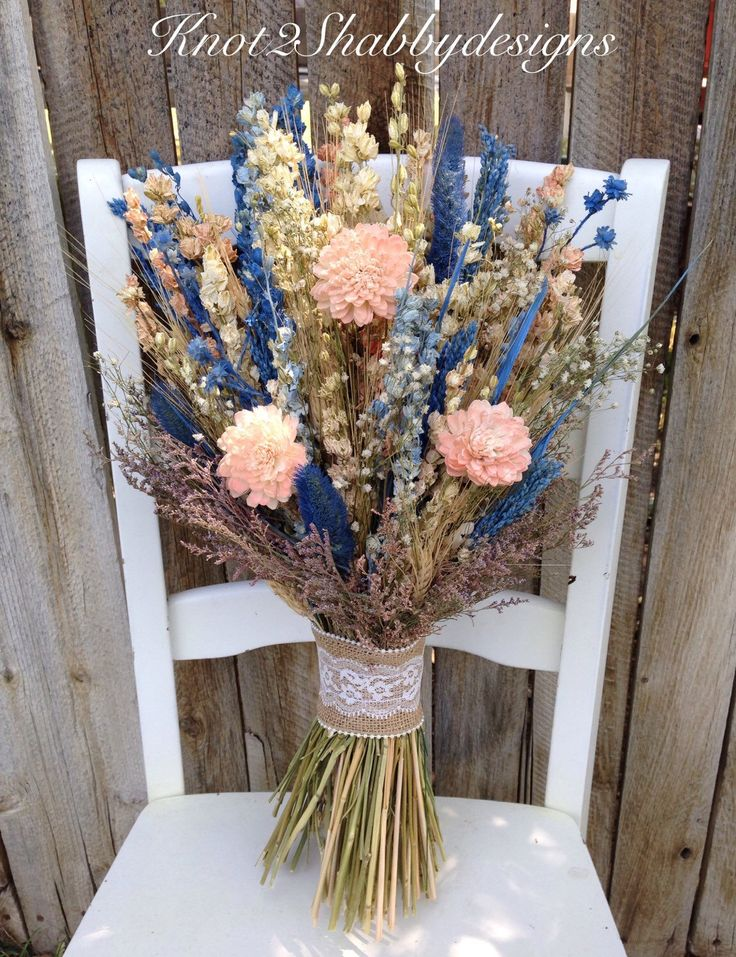 Sola flower wildflower - dried flower bouquet - wedding flowers - blush - bridal bouquet -   bridal party flowers - bridesmaid bouquet by Knot2ShabbyDesigns on Etsy https://www.etsy.com/listing/244551884/sola-flower-wildflower-dried-flower