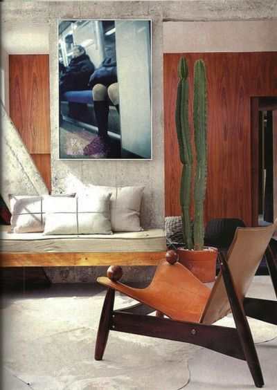 Lina Bo Bardi, leather and rosewood chair, ca. 1950s, Brazil. Photo and interior by Luciana Penna. /Luciana Penna