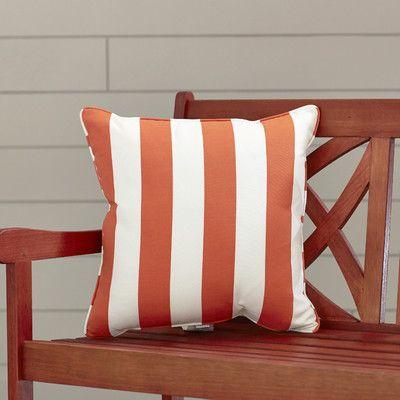 "Wayfair Custom Outdoor Cushions Outdoor Throw Pillow Height: 16"", Width: 16"", Color: Finnigan Mandarin"