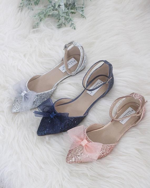 d142811aded0 ROSE GOLD Rock Glitter Ankle Strap Flats with Organza Bow in 2019 ...