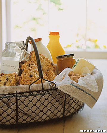A Good Morning    A healthy breakfast is often the last thing on your hostess's mind when she's planning a night of entertainment. Line a basket with vintage tea towels and fill it with everything they need to start the day off right -- coffee, tea, milk, sugar, orange juice, scones, butter, and marmalade. All they have to do is find the kettle and French press to recover from the festivities.
