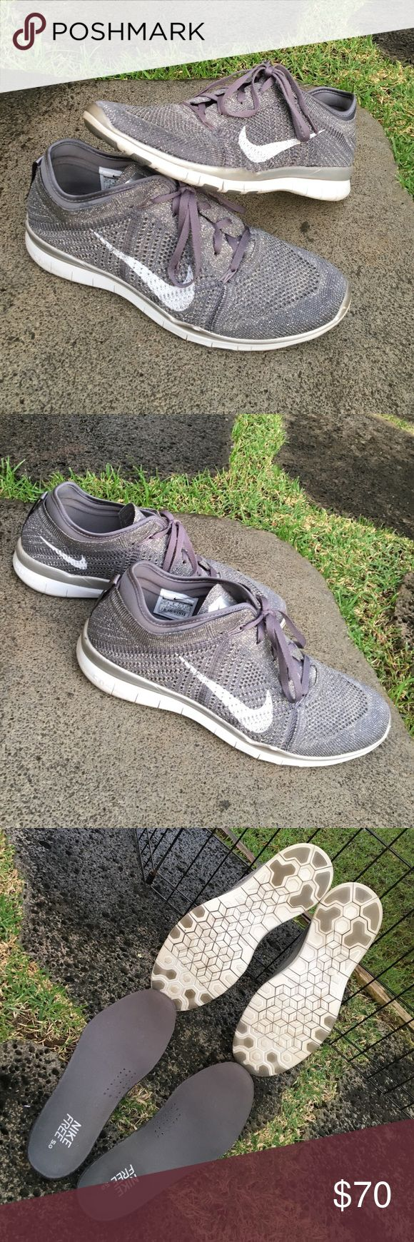 Nike Free Flyknit 5.0 TR. Gray & Silver, size 10.5 Women's Nike Flyknit/Free 5.0 shoes, size 10.5 (women's sizing). Perfect for running or training. Gray with silver sparkles, very pretty and matches every gym outfit. Pre-loved but still in great condition! Nike Shoes Athletic Shoes