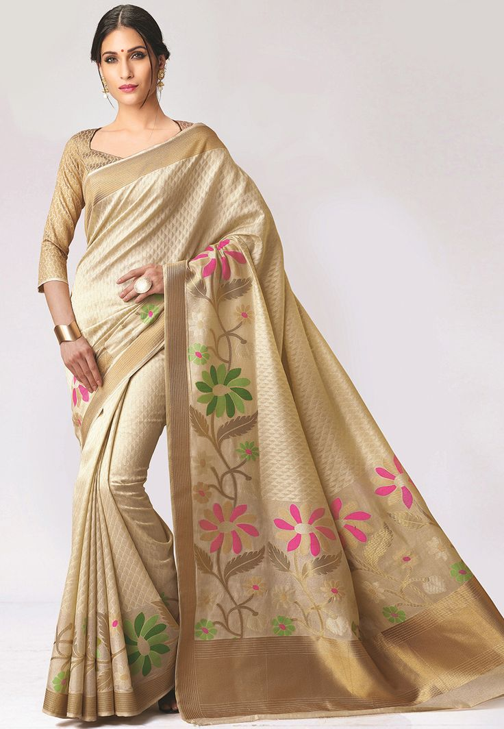 Art Bangalore Silk Jacquard Saree in Beige Beautifully woven with Resham and Zari Available with an Unstitched Art Brocade Silk Blouse in Beige Free Services: Fall and Edging (Pico) Do note: Accessories shown in the image are for presentation purposes only.(Slight variation in actual color vs. image is possible.)