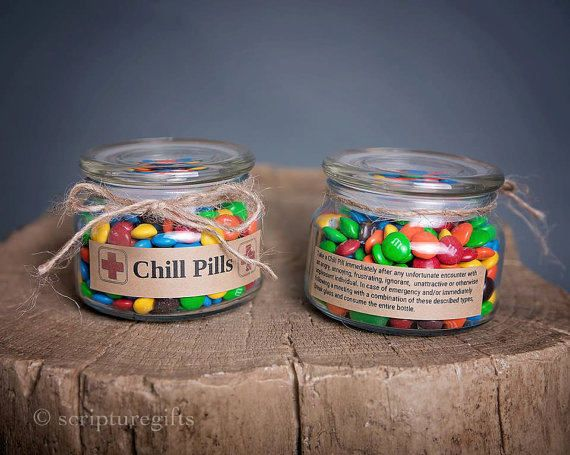 "Having a bad day? Take a chill pill! This fun Chill Pill jar DOES INCLUDE CANDY (Skittles) and makes a perfect gift for anyone who appreciates a little humor within frustrating situations. Want to add your business logo and relate these to your business? Message me for more information on how these can be customized! PRODUCT SPECIFICATIONS: Size: 8oz ★Jar Dimensions: Height: 2-3/4"", Diameter: 4"", Base: 4"", Top: 3"" ★Finish: High End Apothecary Glass ★Color: Clear Jar With Craft Paper..."