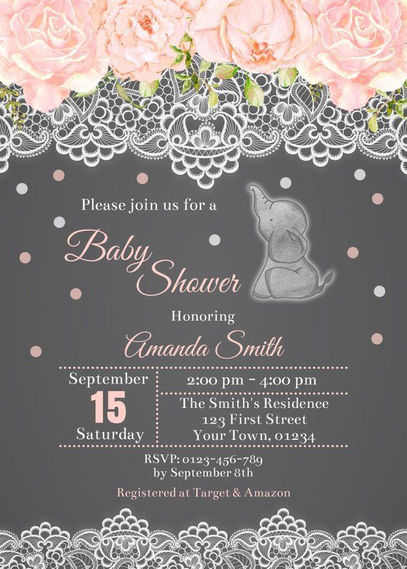 Ideas Tarjetas Baby Shower.Pink Watercolor Elephant Theme Baby Shower Invitation Etsy