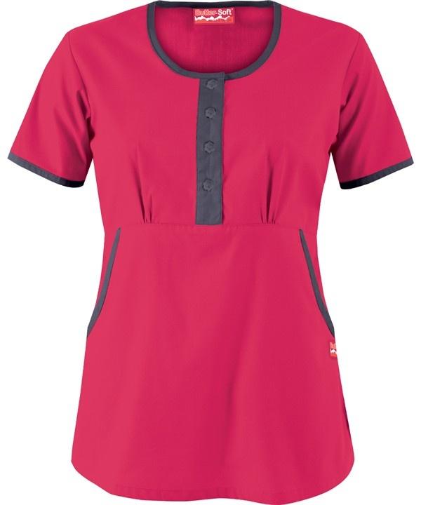 UA537C Butter-Soft Scrubs by UA™ Women's Round Neck Button Front Scrub Top http://www.uniformadvantage.com/pages/prod/ua537c-button-front-top.asp?frmColor=GEGRS
