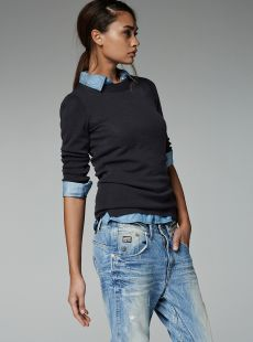 Shirt under jumper + boyfriend jeans