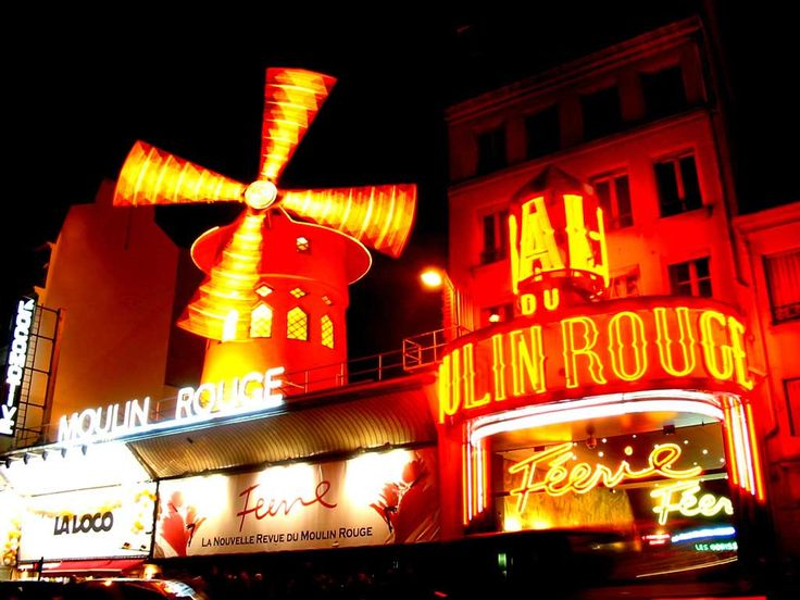 "The Moulin Rouge, Paris. ""Moulin Rouge"" was my second favorite ""musical"" of all time, so I'd like to see the place in person. Of course, without the courtesans, dwarfs, kinky Englishmen, and half-naked hiphop stars singing the finale, it's probably not nearly as impressive."