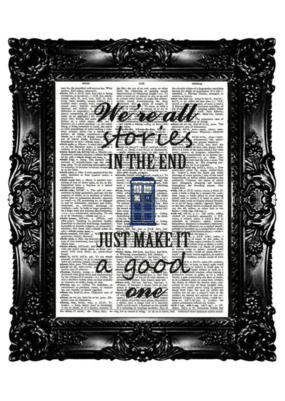 Tardis Dr Who Quotes Dictionary Print  Art Prints Upcycled Book  Vintage Book Print  Vintage Book Page   Buy 3 get 4th free