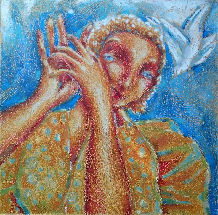 С птицами.............Масляная пастель. Графика Штуркина-Сокол Ирина.