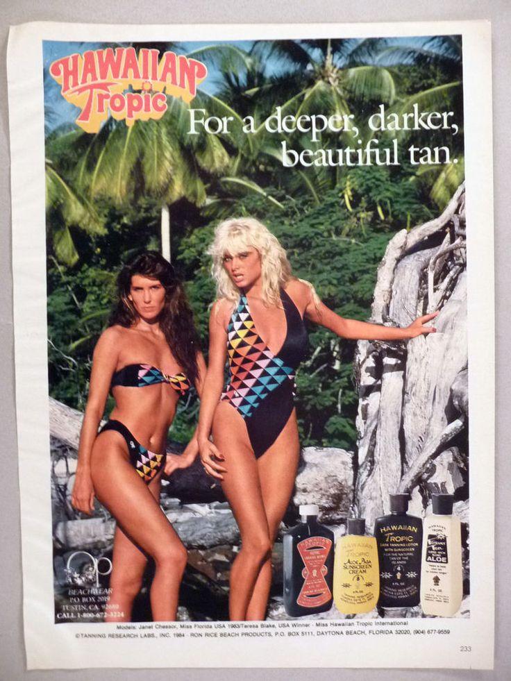 Hawaiian Tropic Sun Tan Lotion PRINT AD - 1984 ~~ bathing suit, swimwear, bikini  | eBay