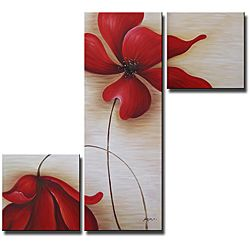 'Red Flowers 255' Hand-painted Canvas Art Set | Overstock.com Shopping - Top Rated Canvas