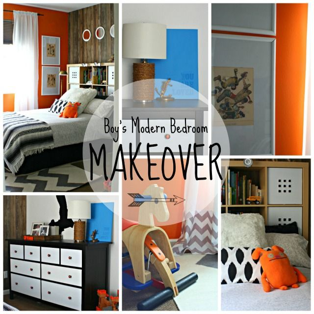 Orange accent wall boys modern bedroom makeover troy for Boys room accent wall