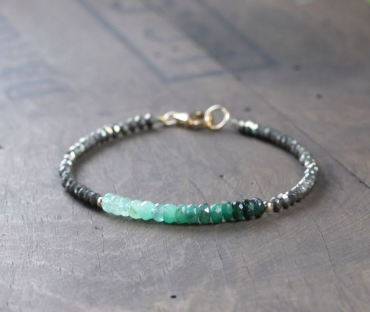 Ombre Emerald Gemstone Beaded Bracelet with Pyrite, Delicate Faceted Emerald Bracelet, Shaded Green Crystal Bracelet, Emerald Birthstone