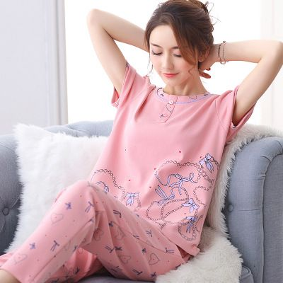 2017 Spring Summer Autumn Cotton Women Pajamas Sets of Sleepcoat & Sleep Pants Lady Nightdress Female Home Clothes Plus Size 3XL #Affiliate