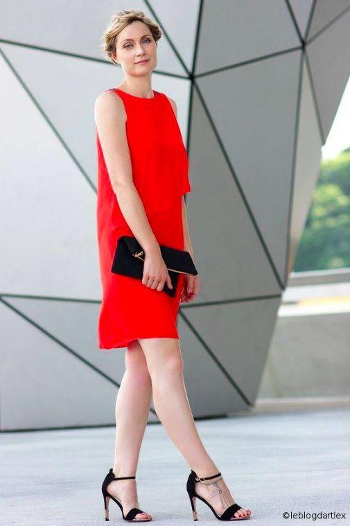 Red dress & braid crown