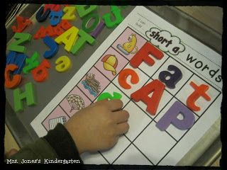 Building CVC words with magnetic letters! Great for letter orientation and manipulation skill building. $