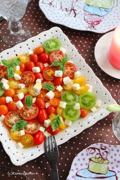 ミニトマトのカプレーゼ 可愛いお花畑サラダ! & 玄関外掃除ついに終了