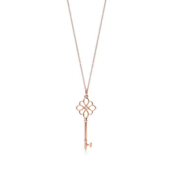 Tiffany Keys knot key pendant in 18k rose gold on a chain. | Tiffany & Co.