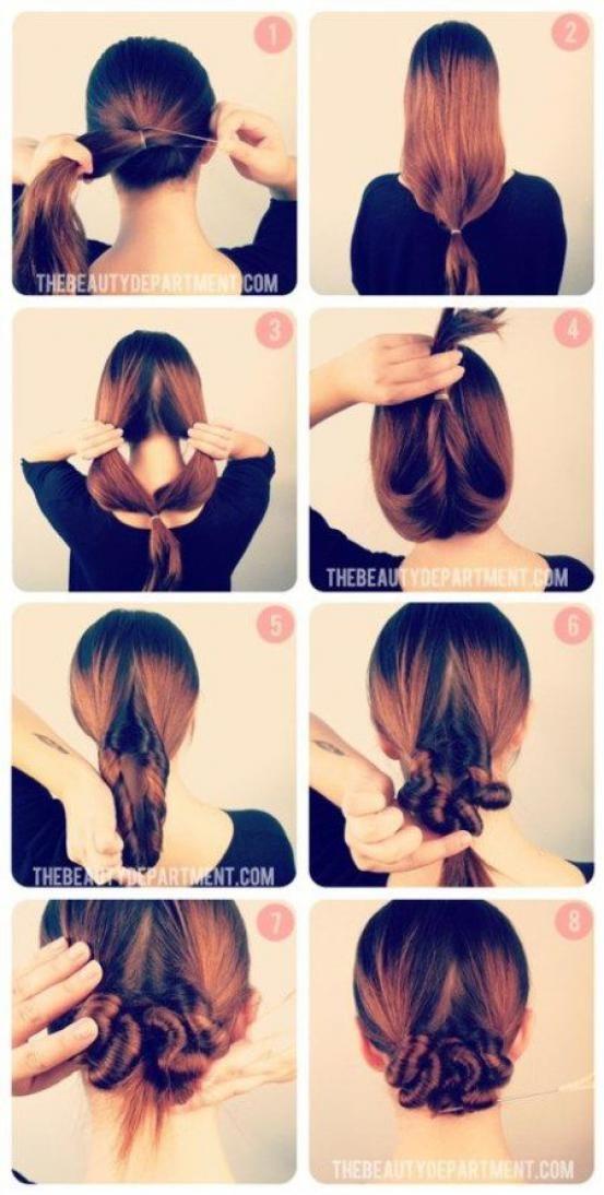 Maak een lage staart en trek en het elastiekje naar beneden. Trek het haar boven het elastiekje open en steek de staart erdoor. Herhaal dit tot je haar helemaal opgerold is. Speld vast met schuifspeldjes.