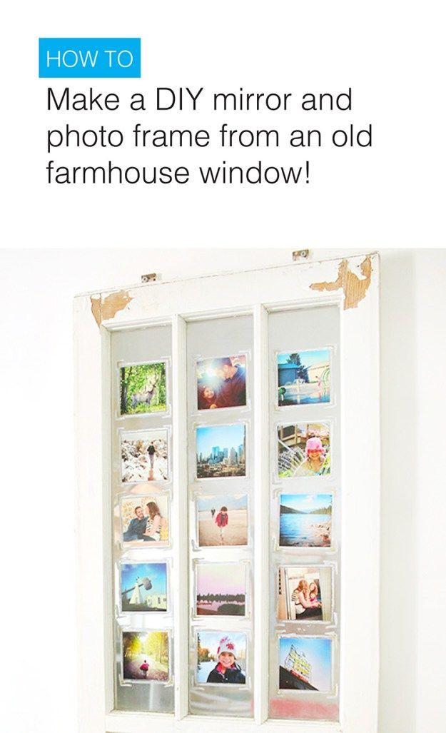 DIY Mirror with an old Farmhouse window! Mirrored spray paint and family photos create a custom photo frame!