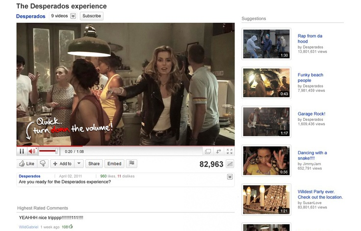 Dufresne Corrigan Scarlett and Mediamonks created a unique Youtube-takeover that lets you rave from the kitchen to the real party in a quite mysterious way... The Desperados Experience grew a million visitors in the first week of the campaign without any media support.