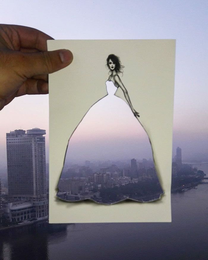 Fashion Illustrator Uses Clouds And Buildings To Complete His Dress Designs | Bored Panda