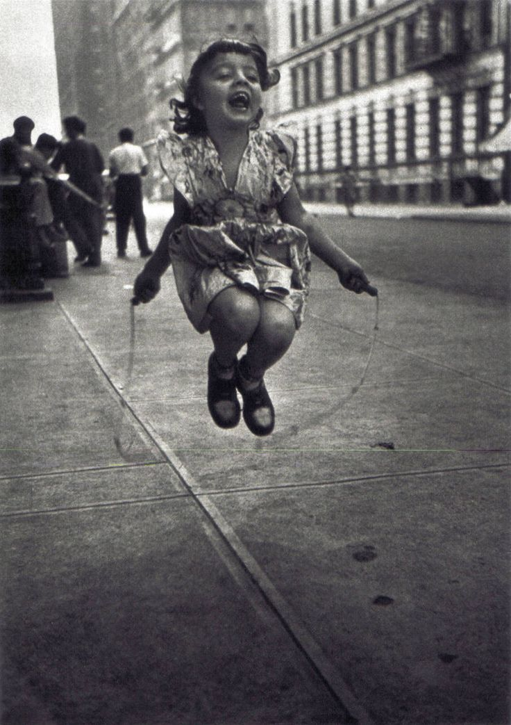 "Skipping Rope by Lester Talkington of The Photo League, 1950 ""On my way home from work, I was attracted by the warm, natural joy of this child skipping rope. I sat down in a doorway, which shielded..."