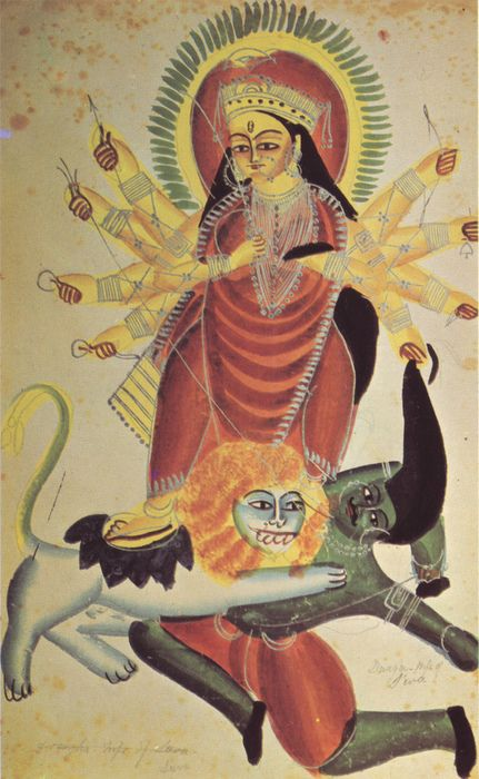 The Goddess Durga on her lion kills the demon Mahishasura, 1880, Kalighat school - folk art from India http://touba.tumblr.com/post/78622050/the-goddess-durga-on-her-lion-kills-the-demon