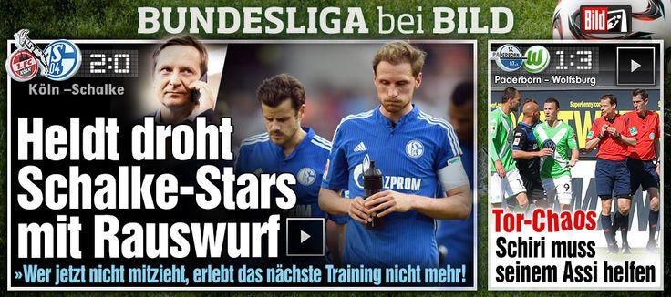 Schalke vs Aufsteiger 1. FC Koeln 0:2 http://www.bild.de/bundesliga/1-liga/saison-2014-2015/spielbericht-1-fc-koeln-gegen-fc-schalke-04-am-32-Spieltag-36650780.bild.html  Paderborn vs VfL Wolfsburg 1:3 http://www.bild.de/bundesliga/1-liga/saison-2014-2015/spielbericht-sc-paderborn-07-gegen-vfl-wolfsburg-am-32-Spieltag-36650798.bild.html
