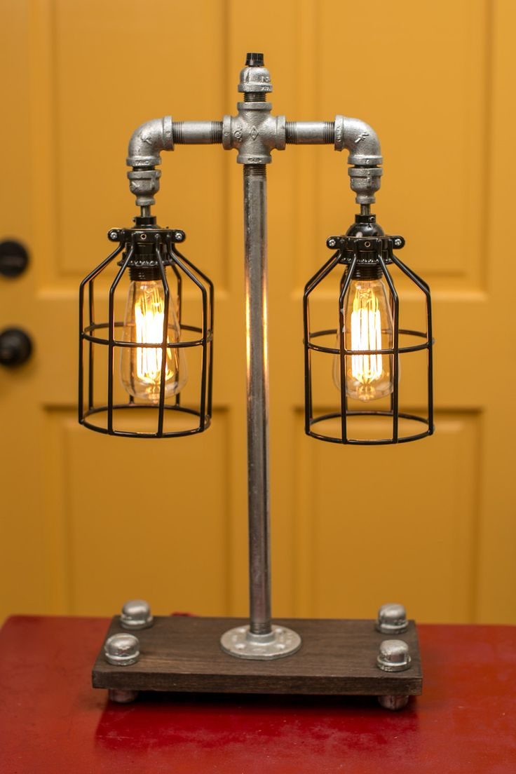 Custom Made Double Caged Galvanized Pipe Lamp By