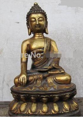"Fast shipping 11""Tibet Folk Fane classic Bronze Gild Ru Lai Tathagata Sakyamuni Buddha Statue #Affiliate"