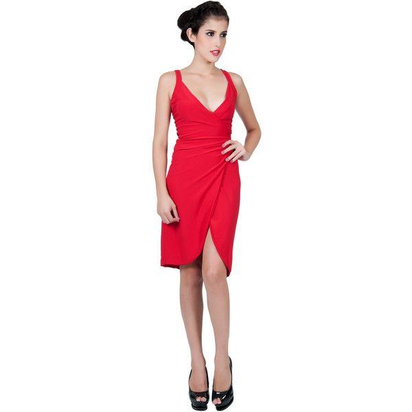 Knee Length Sleeveless Mini Dress (105 AUD) ❤ liked on Polyvore featuring dresses, mini dress, red, wrap cocktail dress, knee length cocktail dresses, short red dress, holiday cocktail dresses and cocktail dresses