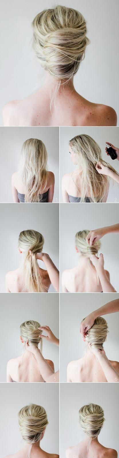 Festive messy French twist from Irrelephant-Blog. Twist the hair around your finger or hand until you can pin it against your head.