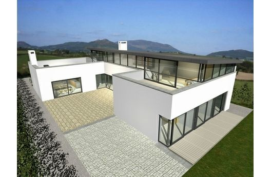 Modern courtyard house plan by architect Frank McGahon...Courtyards House Plans, Garages, Dreams House, Container House, Houseplans Com, Elevator Plans, Bedrooms, House Plans Colors, Bathroom