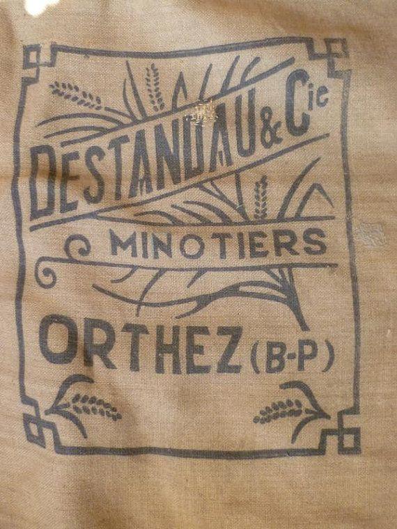 Hessian Grain SackJute Sacking French Antique Art Deco Stylish Design Millers Bag