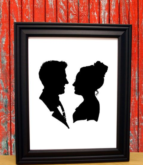 Immortalize the paper anniversary—and score a conversation-starting wall hanging—with a custom silhouette by having a photo transformed into a paper cutout in black acid-free archival paper. ($40, the silhouettechicks.etsy.com)