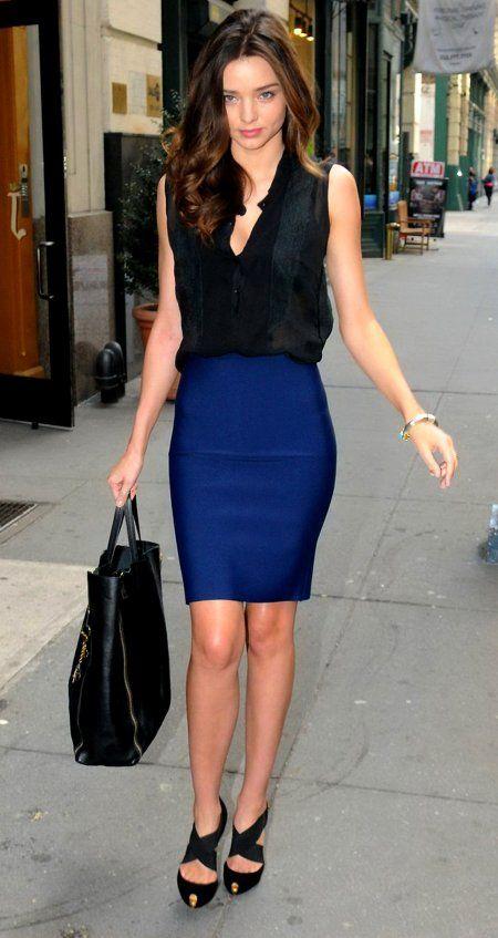 Miranda Kerr. Love her dark blue skirt.