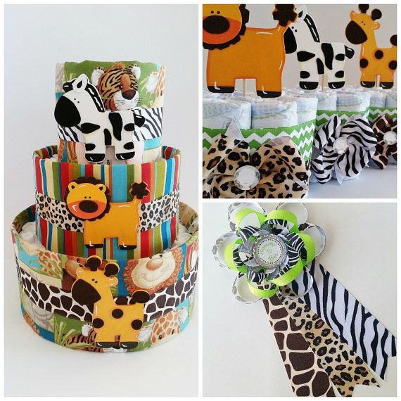 Safari baby shower decor jungle themed diaper cake for Baby decoration safari