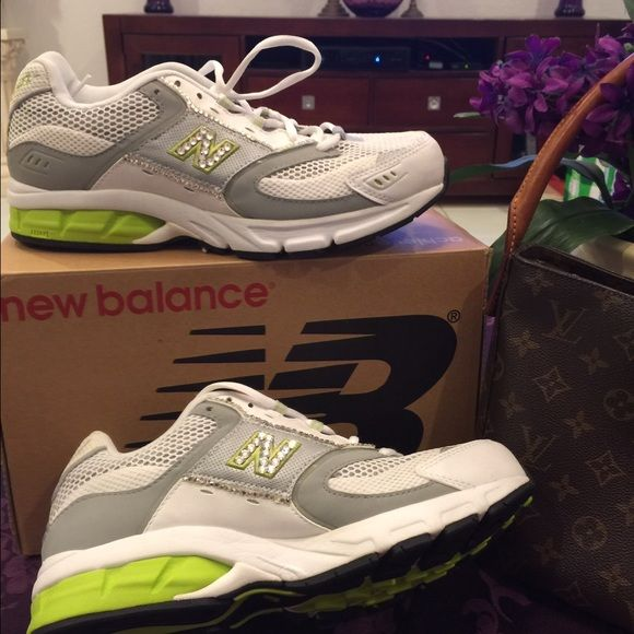 """New Balance achieve Tennis Size-10 This is a beautiful pair of new balance tennis size-10. The color is lime green, grey and white with rhinestones. They are new never used. Please feel free to ask any questions. """"No Trades"""" New Balance Shoes Athletic Shoes"""