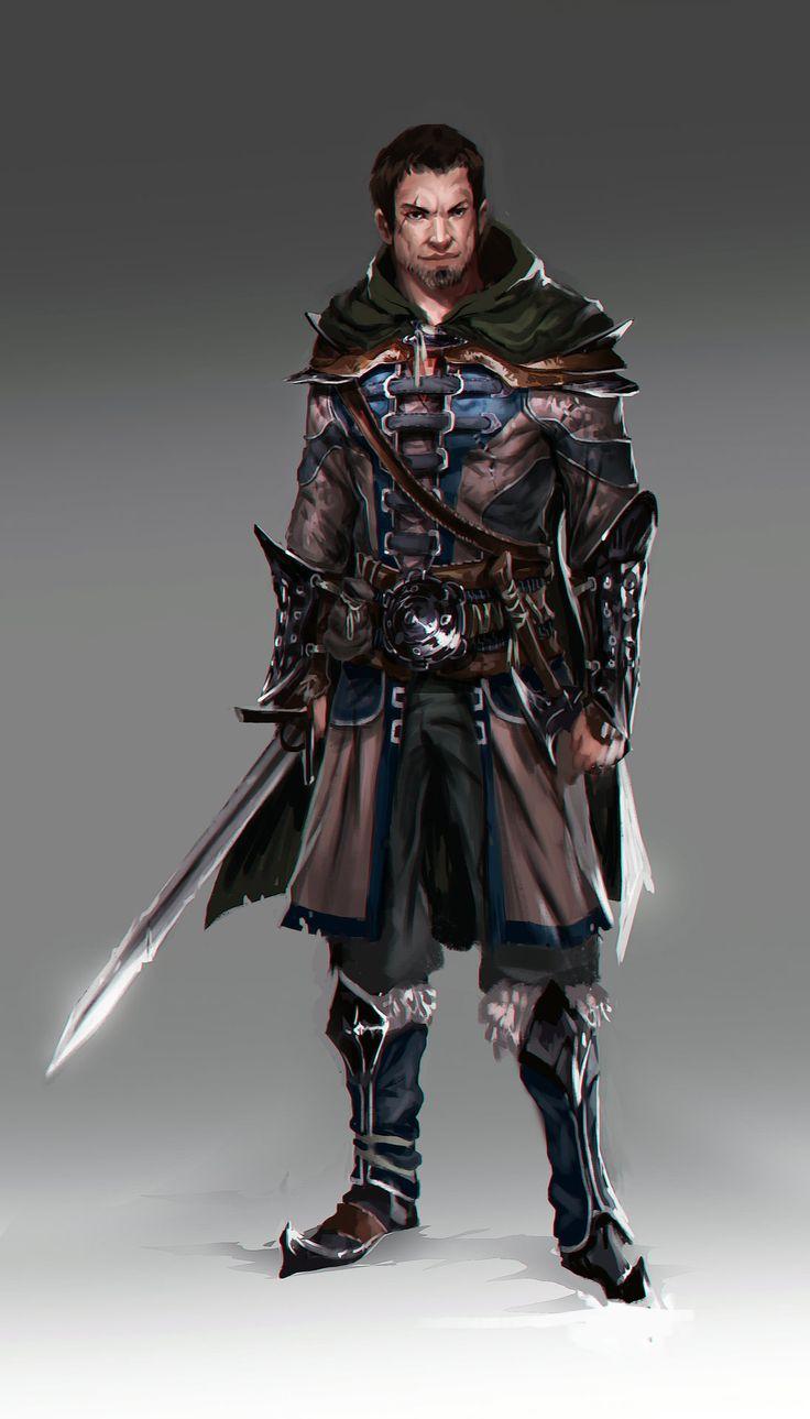 Humano, pelo negro, liso, perilla canosa, cicatriz en la frente, guerrero.