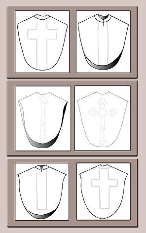 Variantes de la chasuble semi-gothique                                                                                                                                                                                 Mais