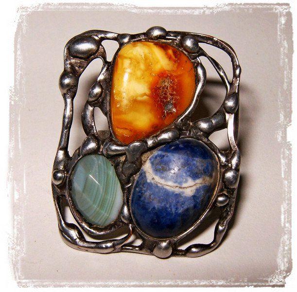 Pierścionek trzy kamienie - Amber-Box - Pierścionki regulowane