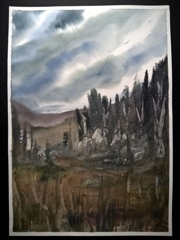 Watercolor Painting | Handmade | Wall Hanging | Home Decor | Gift | Landscape | Nature | Size: Height 50cm X Width 35cm