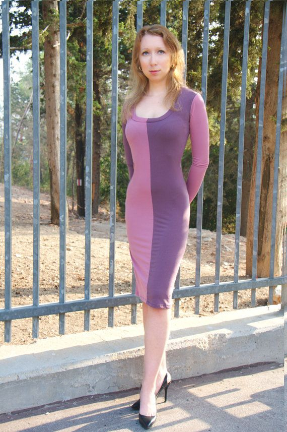 Long sleeved Violet and Pink dress by Helleny on Etsy, ₪370.00