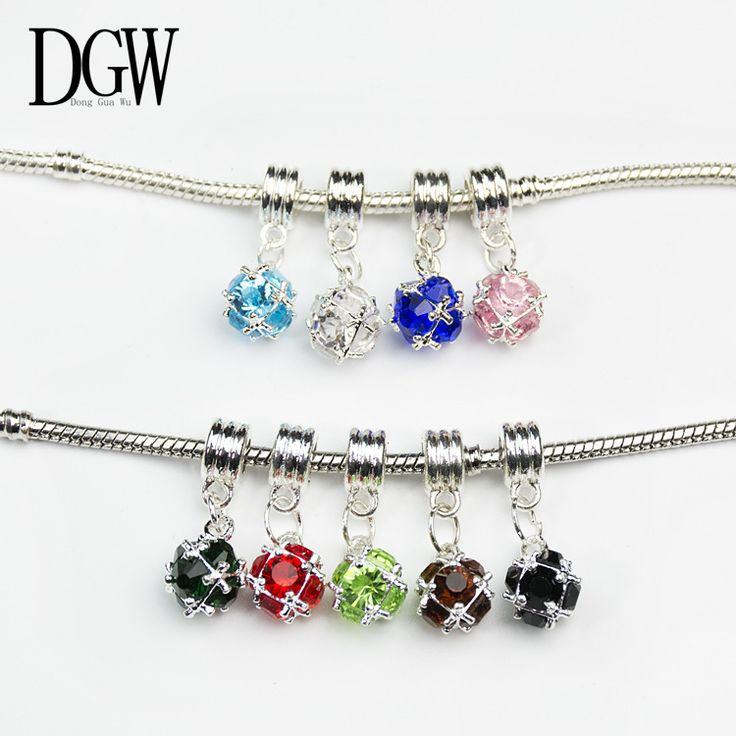 DGW NEW Free Shipping 1Pc Silver Bead Charm European Silver with Charm Crystal Pendant Bead Fit Pandora t Bracelets & Bangles