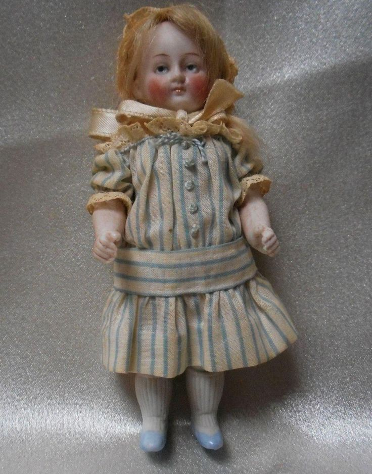 """5 """" German All Bisque Doll with Original Clothes"""